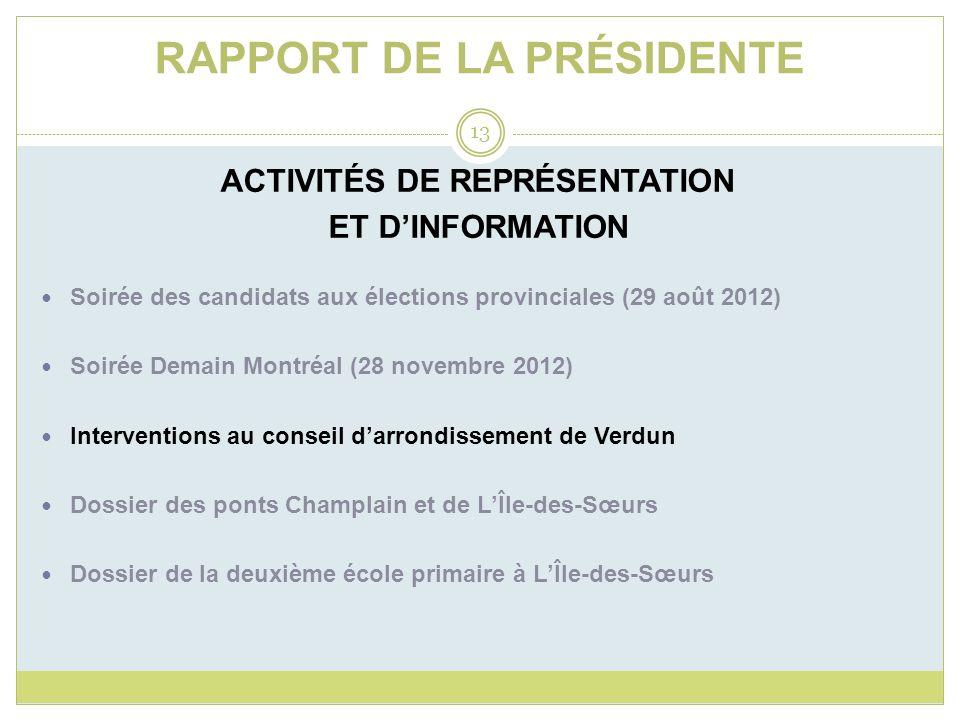RAPPORT DE LA PRÉSIDENTE ACTIVITÉS DE REPRÉSENTATION ET DINFORMATION Soirée des candidats aux élections provinciales (29 août 2012) Soirée Demain Mont