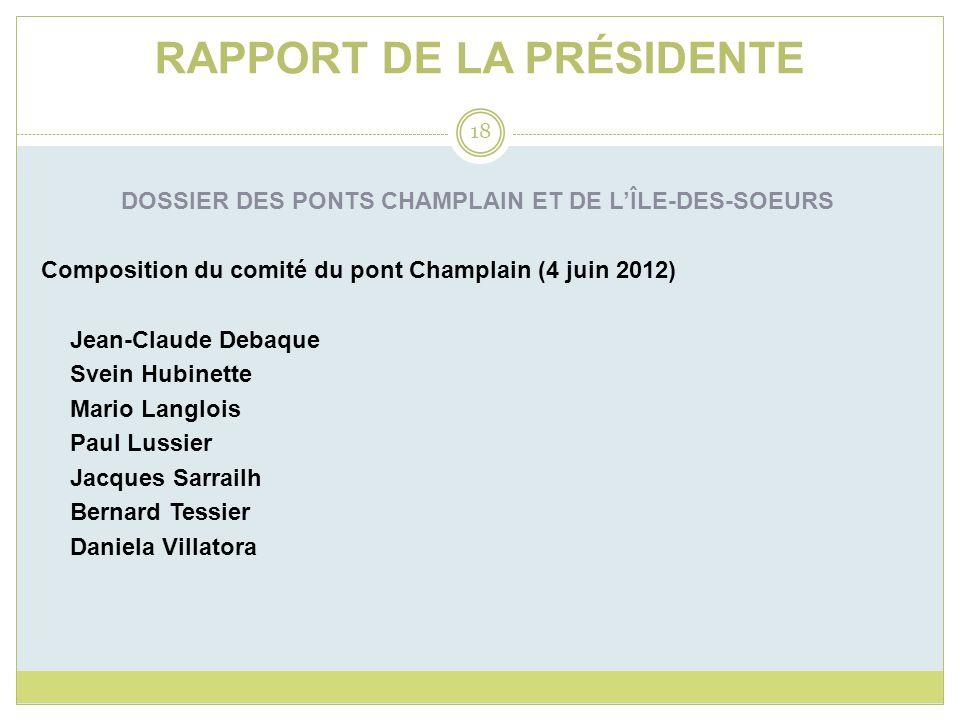 RAPPORT DE LA PRÉSIDENTE DOSSIER DES PONTS CHAMPLAIN ET DE LÎLE-DES-SOEURS Composition du comité du pont Champlain (4 juin 2012) Jean-Claude Debaque S