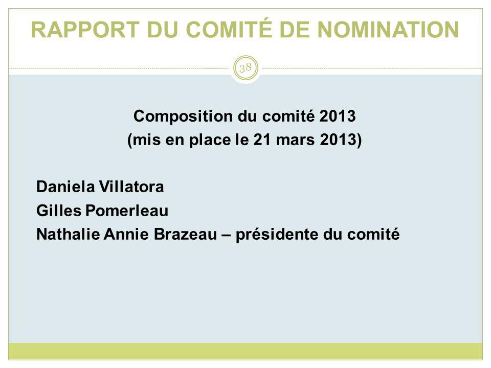 RAPPORT DU COMITÉ DE NOMINATION Composition du comité 2013 (mis en place le 21 mars 2013) Daniela Villatora Gilles Pomerleau Nathalie Annie Brazeau – présidente du comité 38