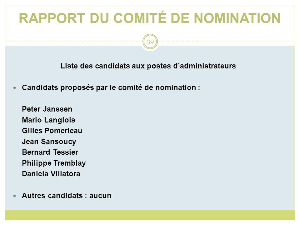 RAPPORT DU COMITÉ DE NOMINATION Liste des candidats aux postes dadministrateurs Candidats proposés par le comité de nomination : Peter Janssen Mario L