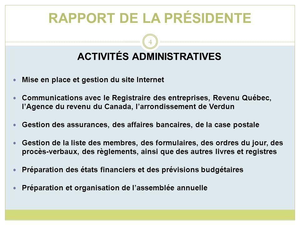 RAPPORT DE LA PRÉSIDENTE ACTIVITÉS ADMINISTRATIVES Mise en place et gestion du site Internet Communications avec le Registraire des entreprises, Reven