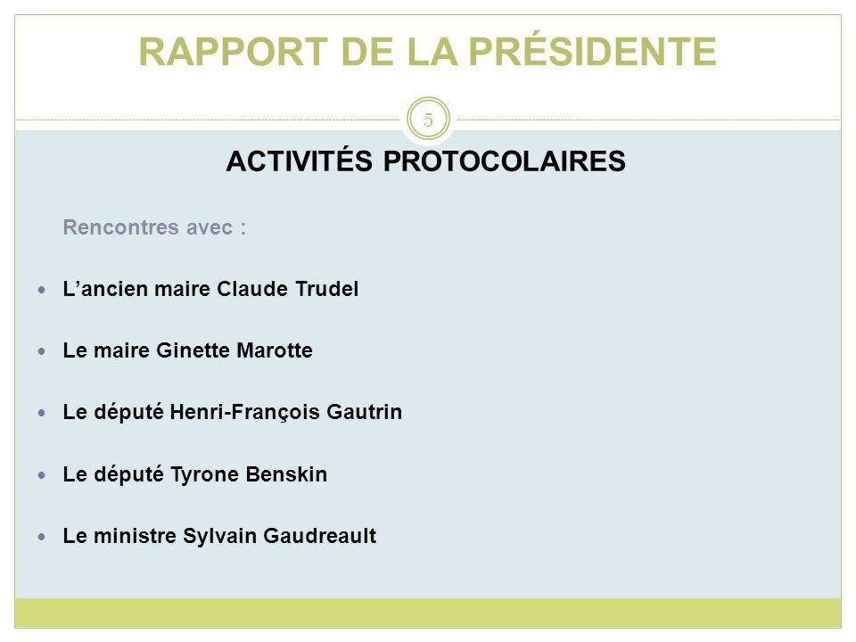RAPPORT DE LA PRÉSIDENTE ACTIVITÉS PROTOCOLAIRES Rencontres avec : Lancien maire Claude Trudel Le maire Ginette Marotte Le député Henri-François Gautr