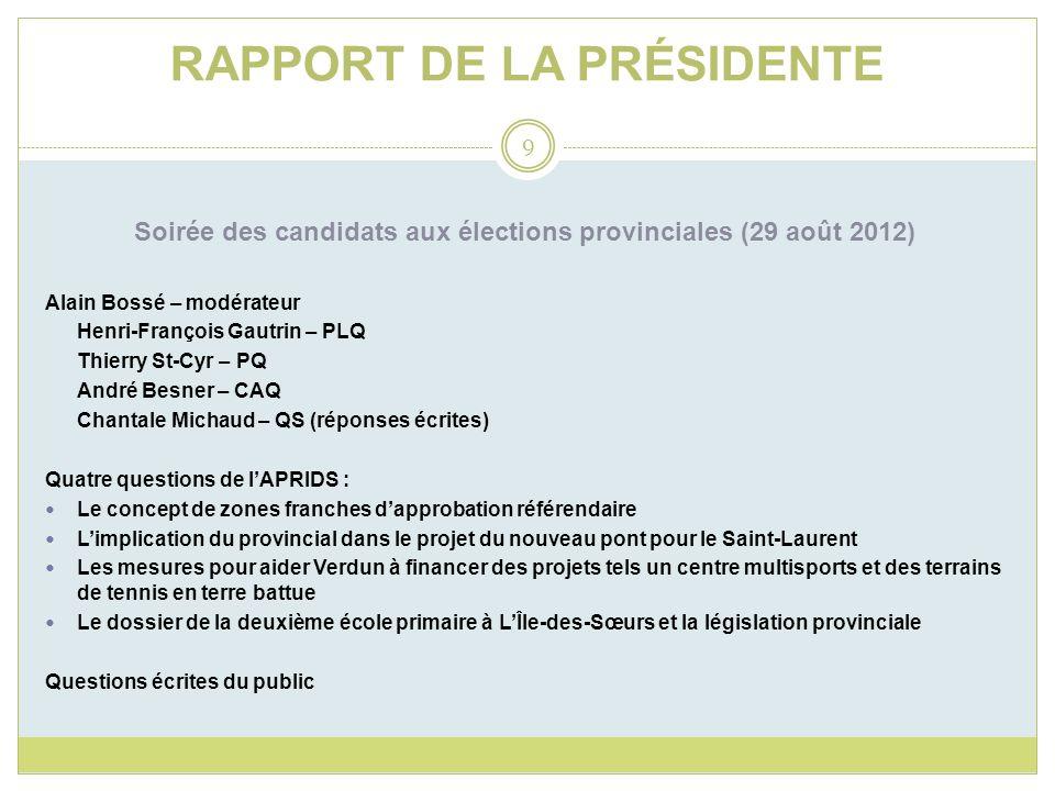 RAPPORT DE LA PRÉSIDENTE Soirée des candidats aux élections provinciales (29 août 2012) Alain Bossé – modérateur Henri-François Gautrin – PLQ Thierry