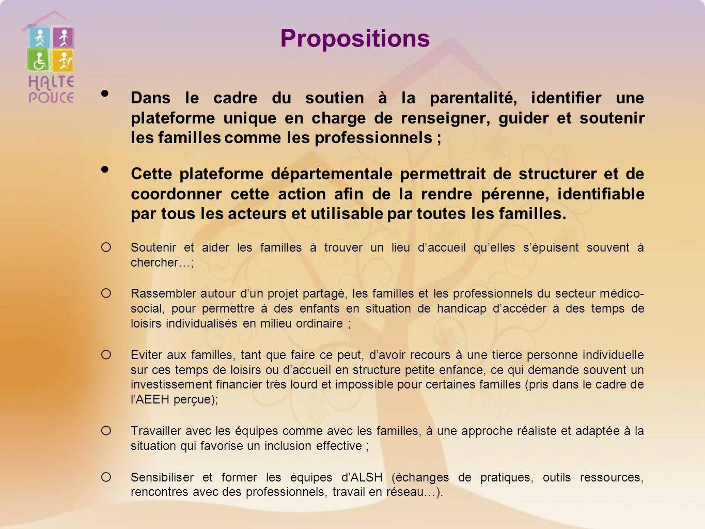 Propositions Dans le cadre du soutien à la parentalité, identifier une plateforme unique en charge de renseigner, guider et soutenir les familles comm