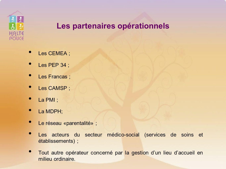 Les partenaires opérationnels Les CEMEA ; Les PEP 34 ; Les Francas ; Les CAMSP ; La PMI ; La MDPH; Le réseau «parentalité» ; Les acteurs du secteur mé