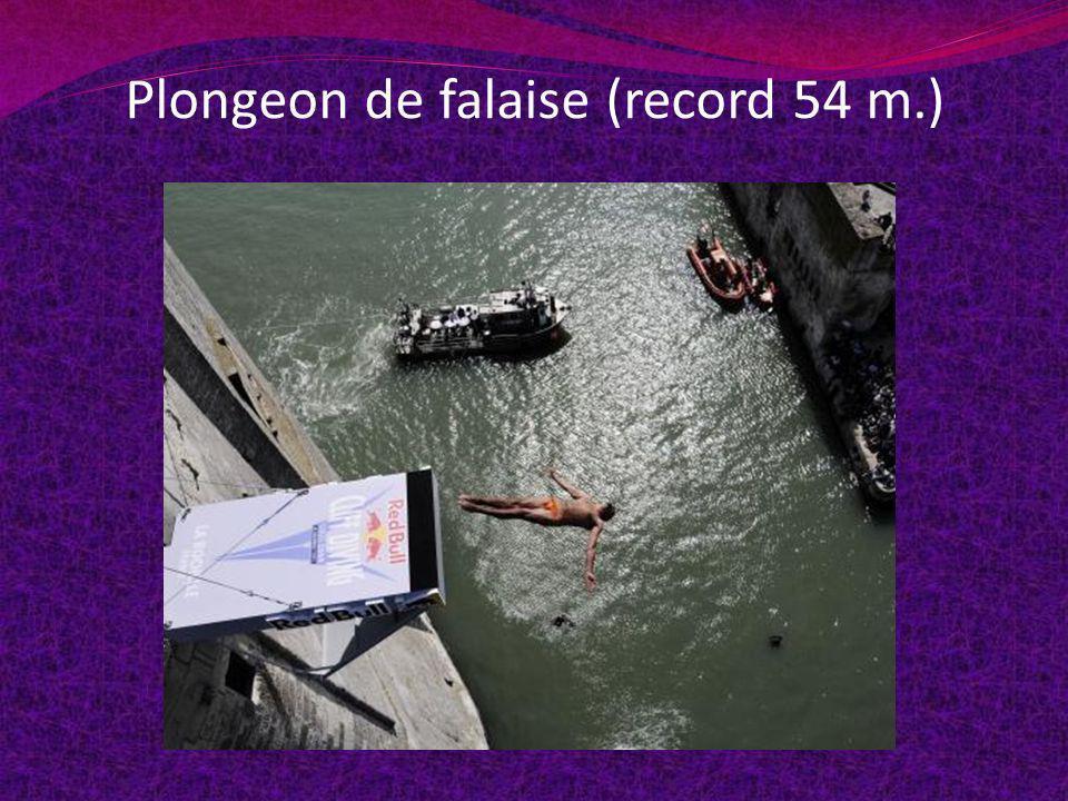 Plongeon de falaise (record 54 m.)