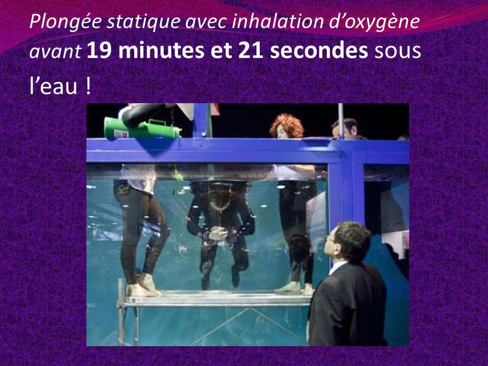 Plongée statique avec inhalation doxygène avant 19 minutes et 21 secondes sous leau !