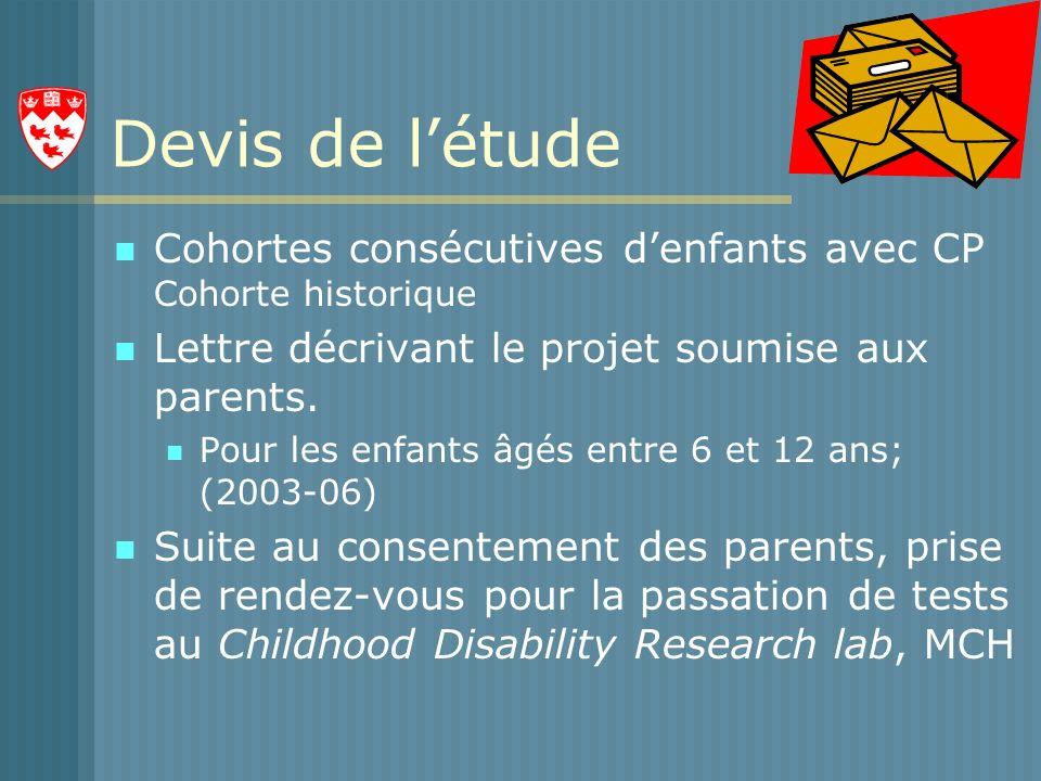 Devis de létude Cohortes consécutives denfants avec CP Cohorte historique Lettre décrivant le projet soumise aux parents.
