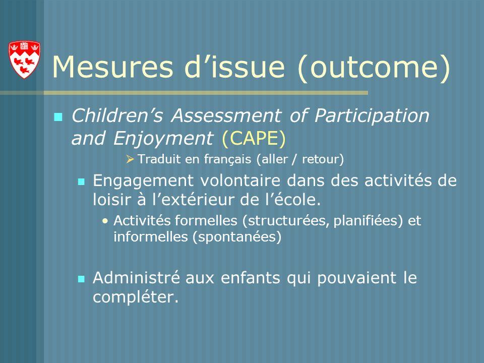 Mesures dissue (outcome) Childrens Assessment of Participation and Enjoyment (CAPE) Traduit en français (aller / retour) Engagement volontaire dans des activités de loisir à lextérieur de lécole.