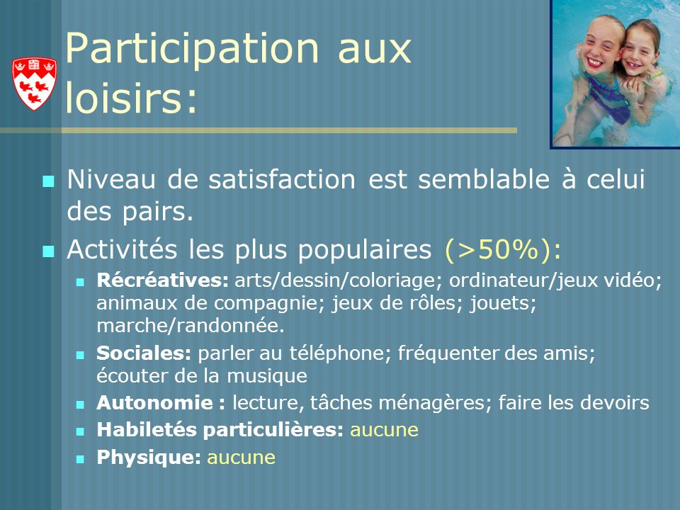 Participation aux loisirs: Niveau de satisfaction est semblable à celui des pairs.