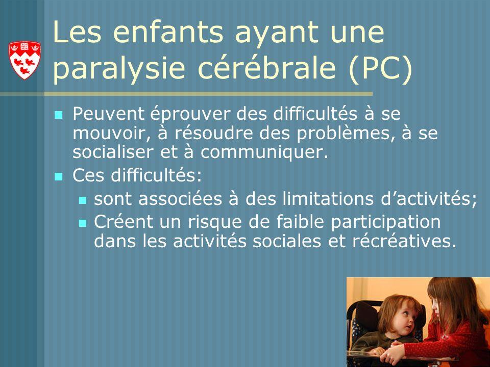 Les enfants ayant une paralysie cérébrale (PC) Peuvent éprouver des difficultés à se mouvoir, à résoudre des problèmes, à se socialiser et à communiquer.