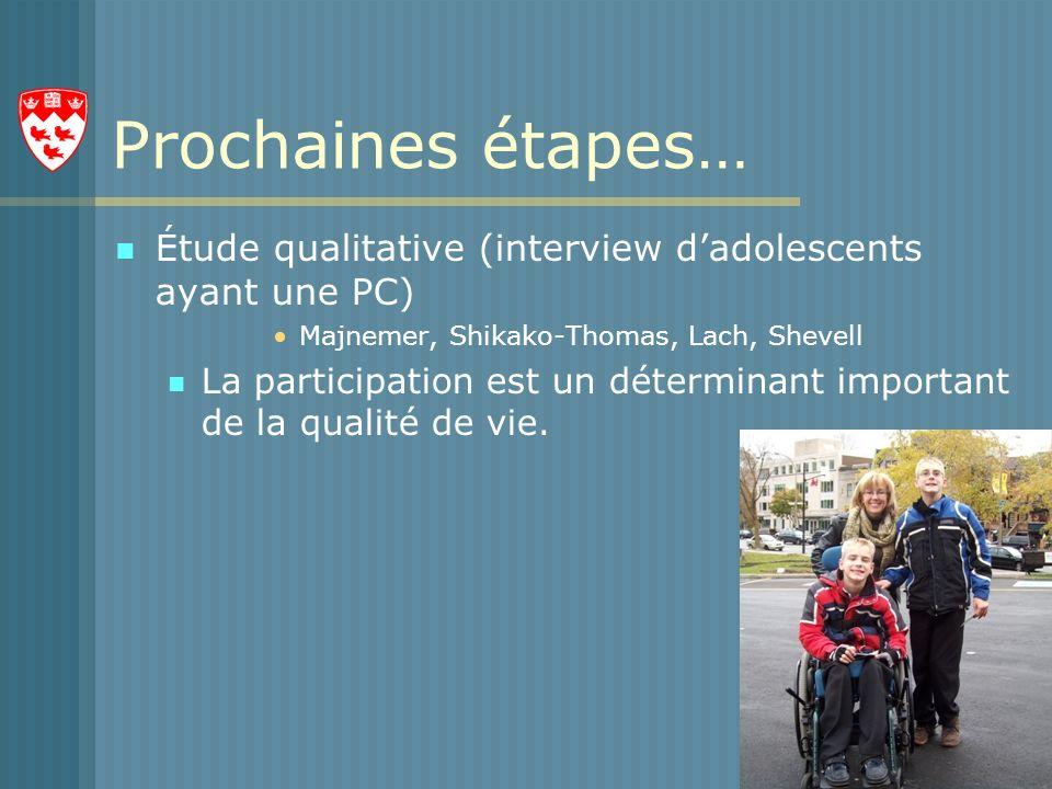 Prochaines étapes… Étude qualitative (interview dadolescents ayant une PC) Majnemer, Shikako-Thomas, Lach, Shevell La participation est un déterminant important de la qualité de vie.