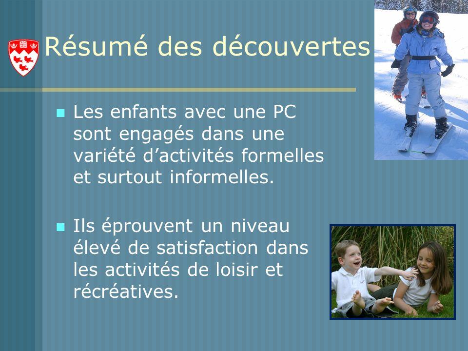 Résumé des découvertes Les enfants avec une PC sont engagés dans une variété dactivités formelles et surtout informelles.