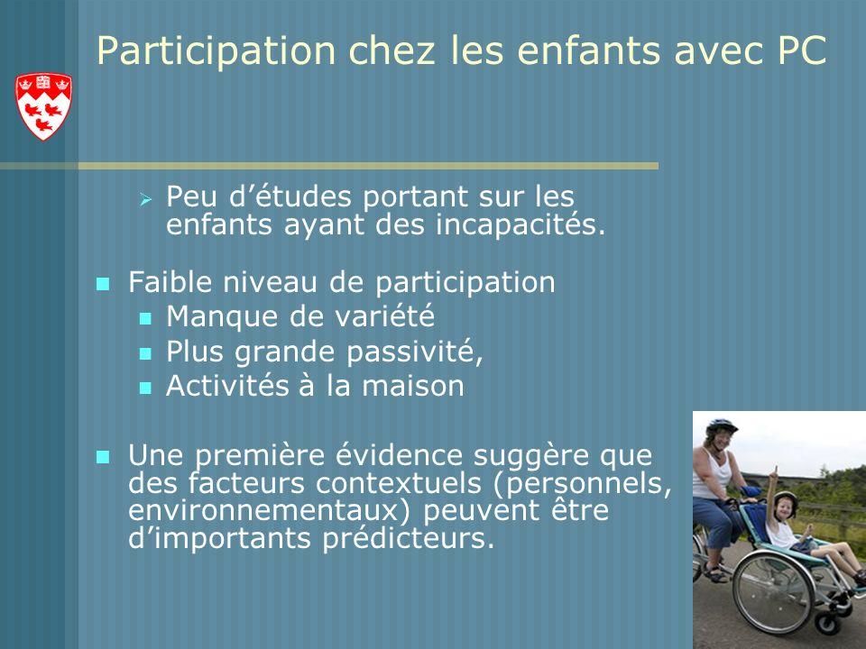 Participation chez les enfants avec PC Peu détudes portant sur les enfants ayant des incapacités.