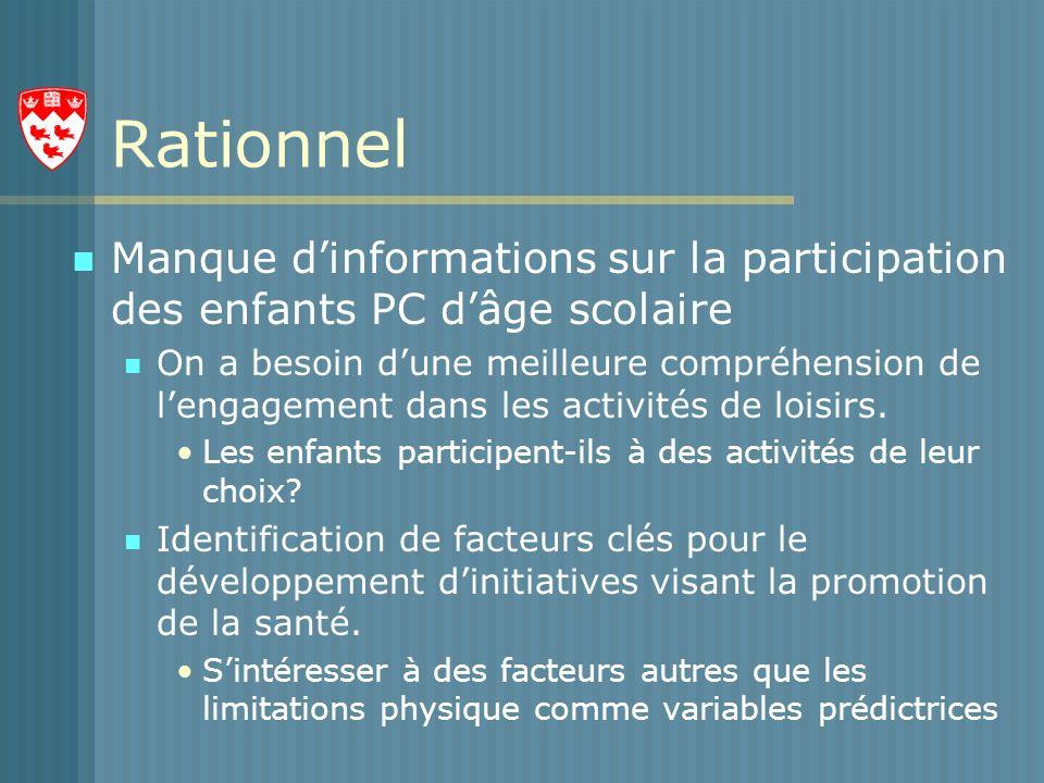 Rationnel Manque dinformations sur la participation des enfants PC dâge scolaire On a besoin dune meilleure compréhension de lengagement dans les activités de loisirs.