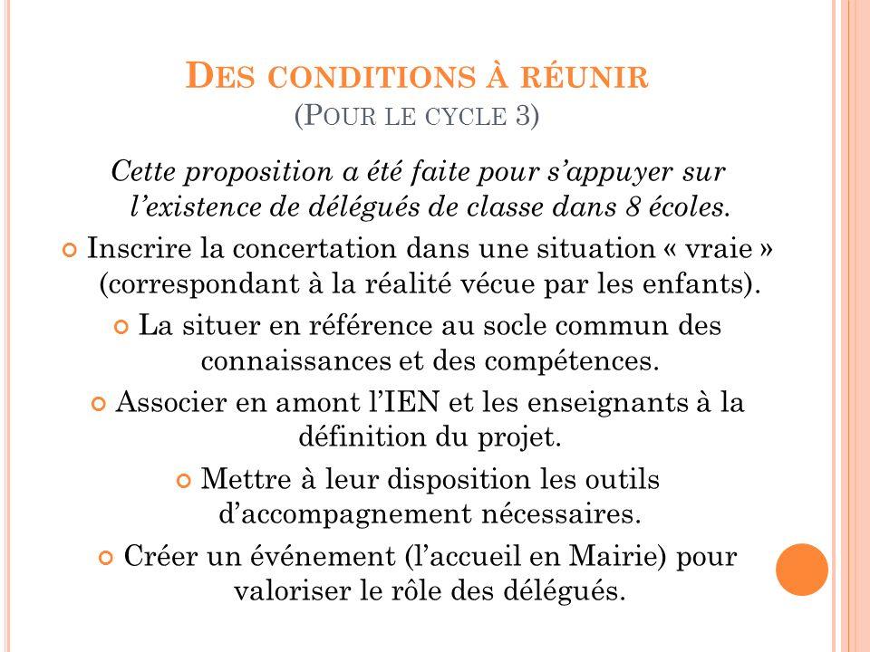 D ES CONDITIONS À RÉUNIR (P OUR LE CYCLE 3) Cette proposition a été faite pour sappuyer sur lexistence de délégués de classe dans 8 écoles. Inscrire l