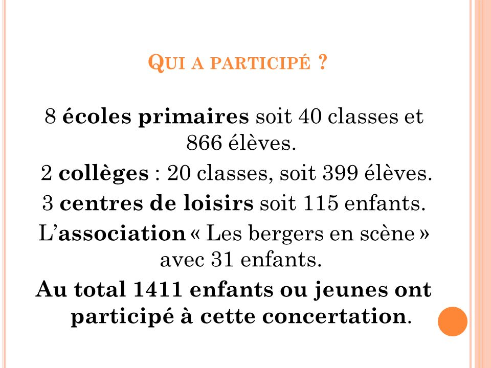 Q UI A PARTICIPÉ ? 8 écoles primaires soit 40 classes et 866 élèves. 2 collèges : 20 classes, soit 399 élèves. 3 centres de loisirs soit 115 enfants.