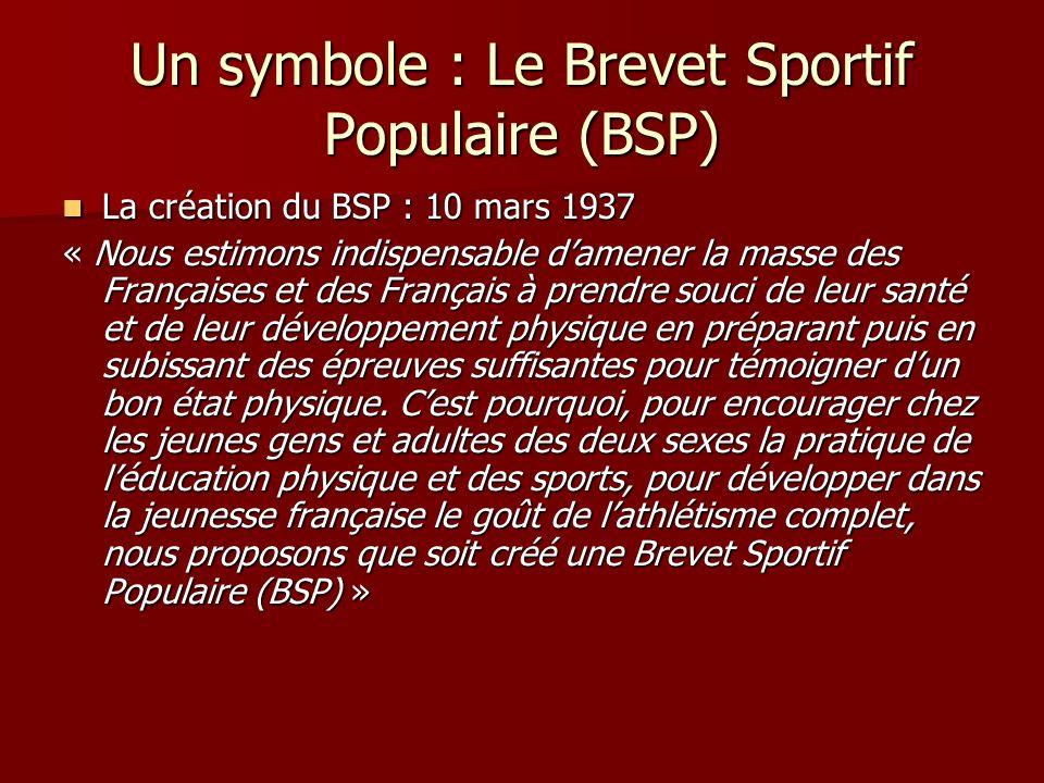« En créant le BSP, cest à un effort national de rénovation physique que nous entendons convier tous ceux qui ont la charge de la jeunesse française et le souci de lavenir de notre pays » ( Rapport rédigé à destination du président de la république le 9 mars 1937 par Lagrange une semaine avant la création du BSP ).