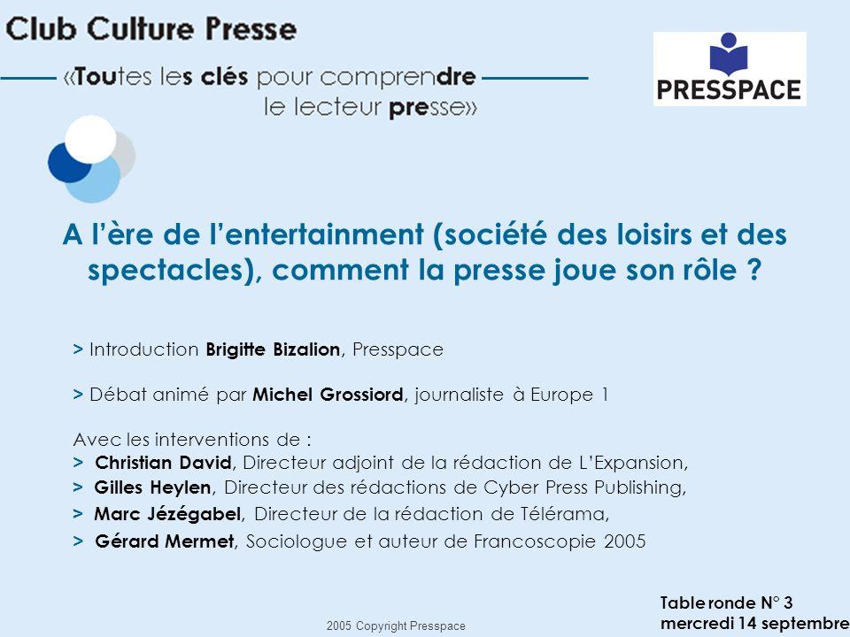 2005 Copyright Presspace Brigitte Bizalion, Presspace A lère de lentertainment (société des loisirs et des spectacles), comment la presse joue son rôle ?