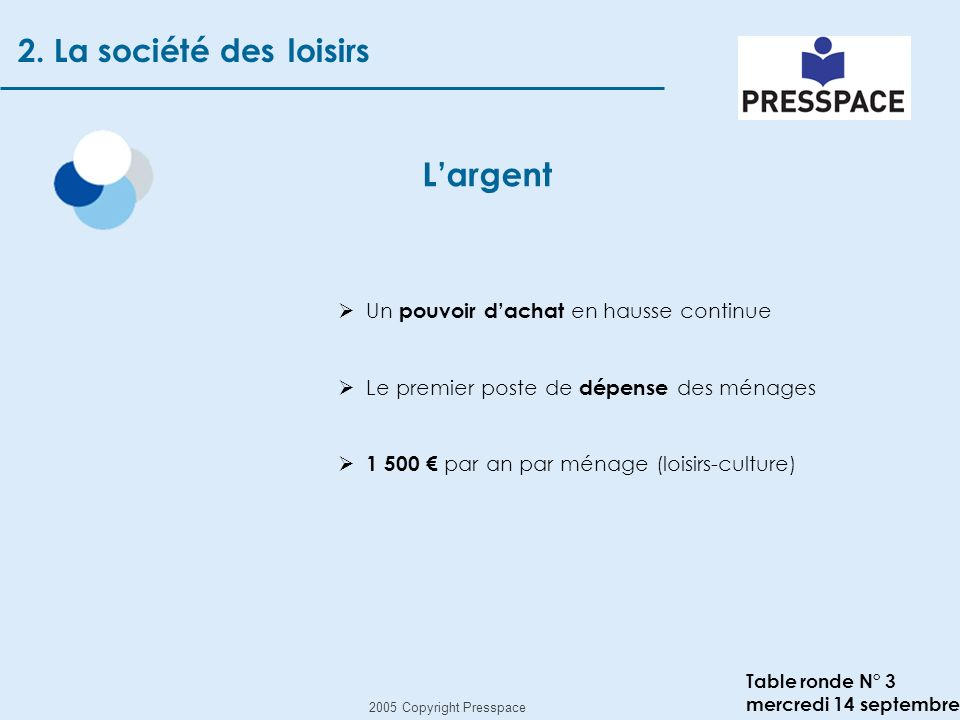2005 Copyright Presspace Table ronde N° 3 mercredi 14 septembre Largent 2.