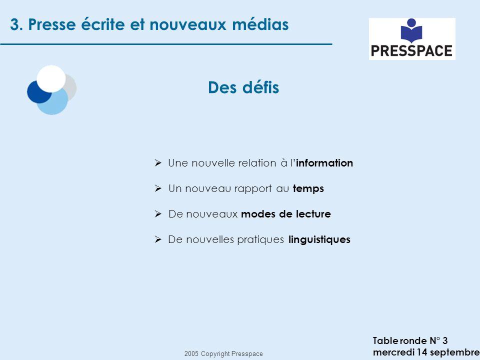 2005 Copyright Presspace Table ronde N° 3 mercredi 14 septembre Des défis 3.