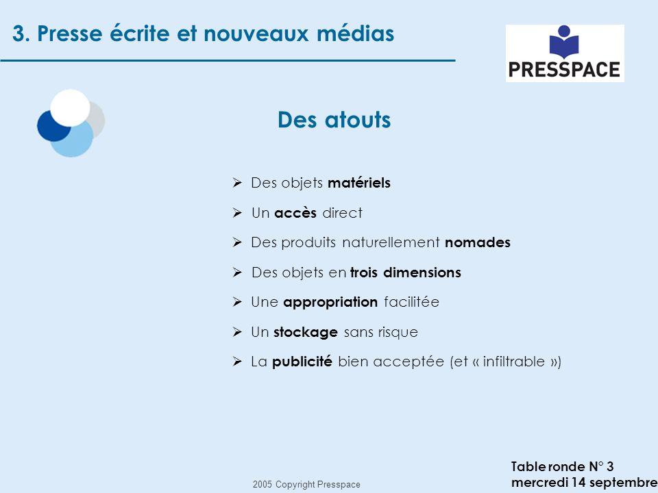 2005 Copyright Presspace Table ronde N° 3 mercredi 14 septembre Des atouts 3.