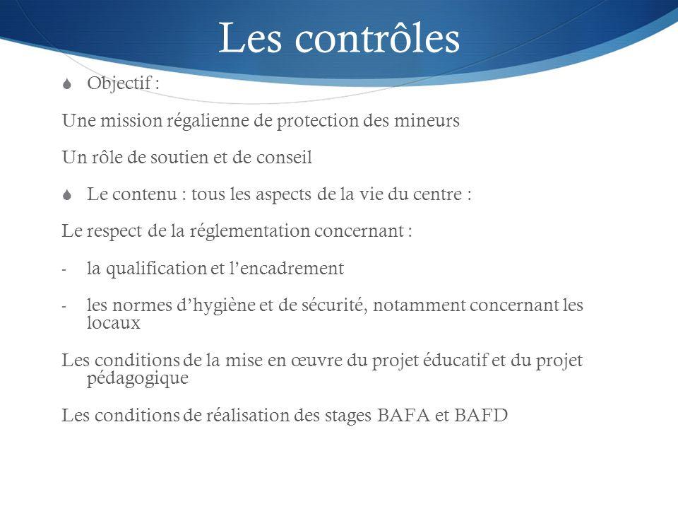 Les contrôles Objectif : Une mission régalienne de protection des mineurs Un rôle de soutien et de conseil Le contenu : tous les aspects de la vie du