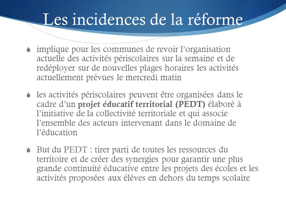 Les incidences de la réforme implique pour les communes de revoir lorganisation actuelle des activités périscolaires sur la semaine et de redéployer s