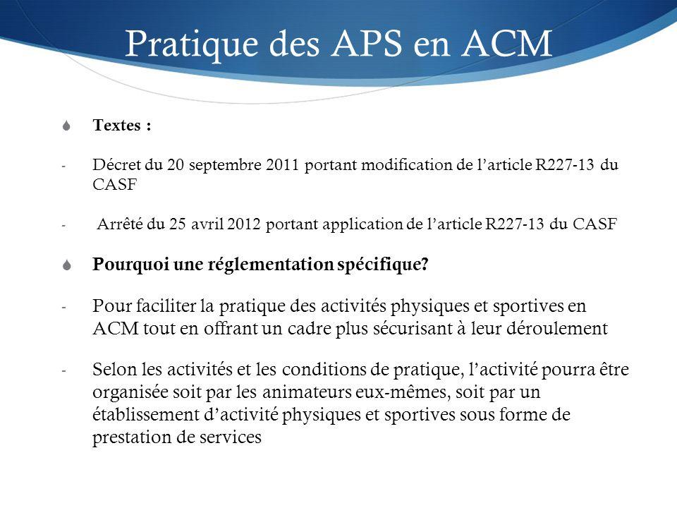 Pratique des APS en ACM Textes : - Décret du 20 septembre 2011 portant modification de larticle R227-13 du CASF - Arrêté du 25 avril 2012 portant appl