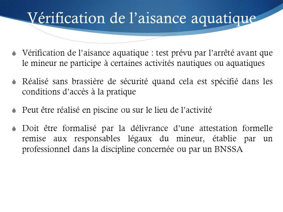 Vérification de laisance aquatique Vérification de laisance aquatique : test prévu par larrêté avant que le mineur ne participe à certaines activités