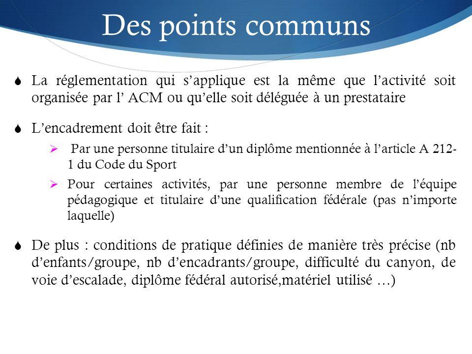 Des points communs La réglementation qui sapplique est la même que lactivité soit organisée par l ACM ou quelle soit déléguée à un prestataire Lencadr