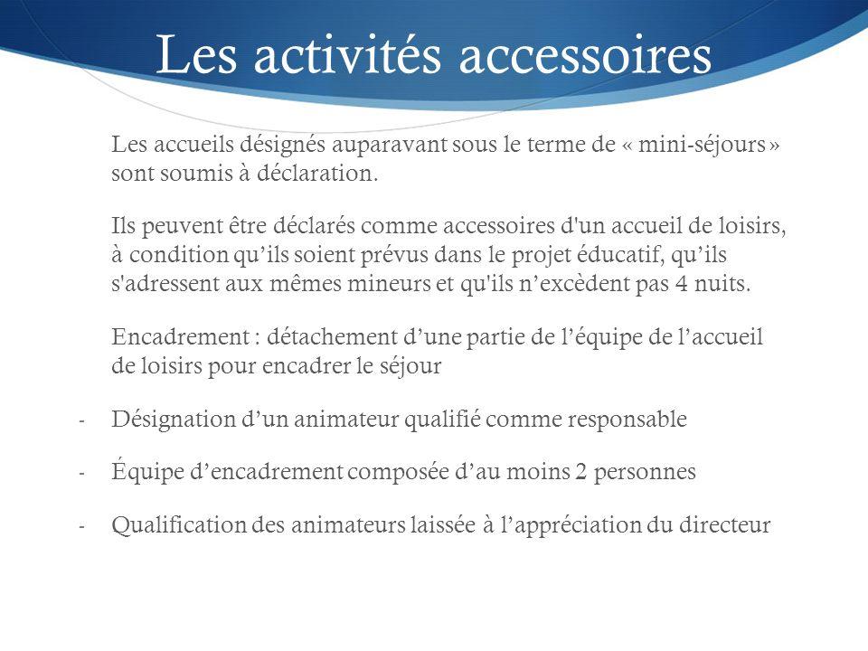 Les activités accessoires Les accueils désignés auparavant sous le terme de « mini-séjours » sont soumis à déclaration. Ils peuvent être déclarés comm