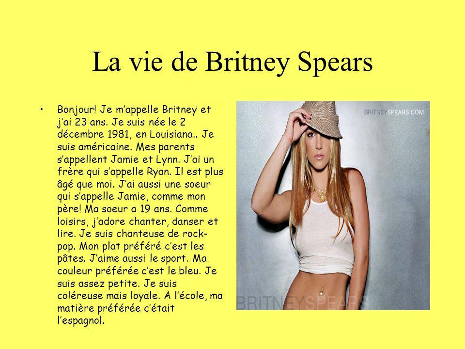 AWAITING PICTURE… La vie de Britney Spears Bonjour! Je mappelle Britney et jai 23 ans. Je suis née le 2 décembre 1981, en Louisiana.. Je suis américai