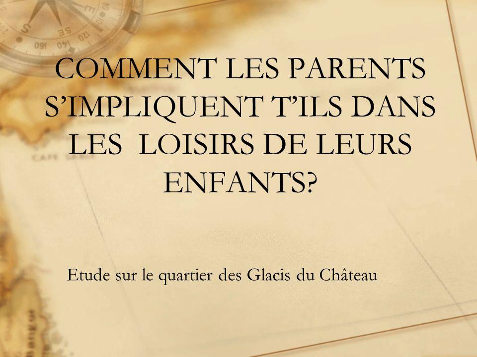 COMMENT LES PARENTS SIMPLIQUENT TILS DANS LES LOISIRS DE LEURS ENFANTS? Etude sur le quartier des Glacis du Château