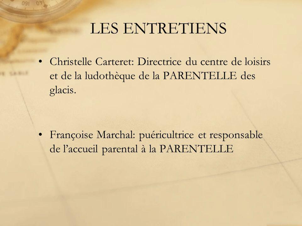 LES ENTRETIENS Christelle Carteret: Directrice du centre de loisirs et de la ludothèque de la PARENTELLE des glacis. Françoise Marchal: puéricultrice