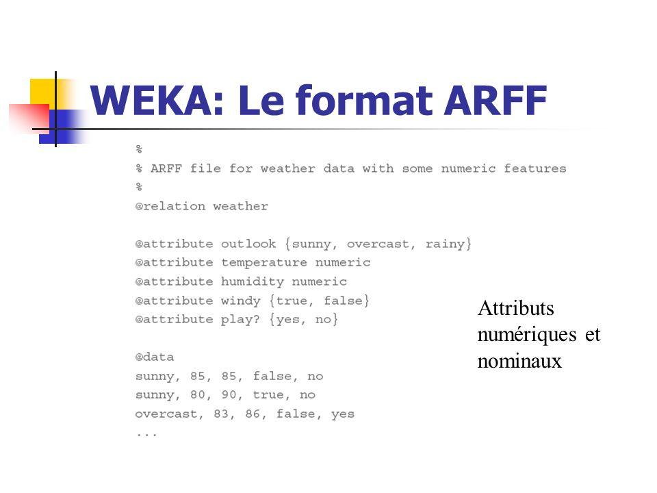 WEKA: Le format ARFF Attributs numériques et nominaux