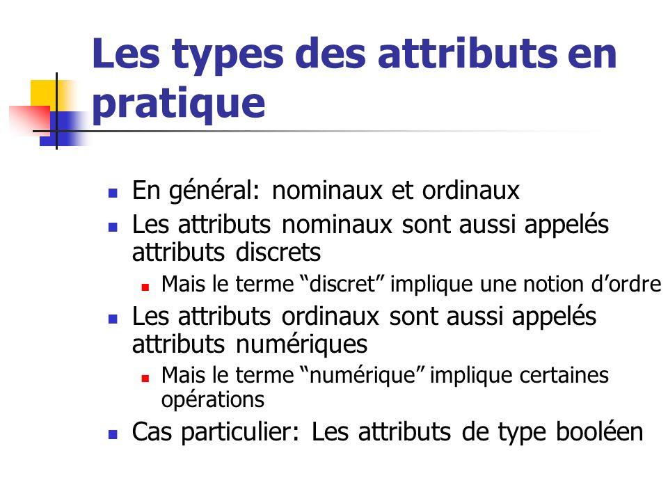 Les types des attributs en pratique En général: nominaux et ordinaux Les attributs nominaux sont aussi appelés attributs discrets Mais le terme discret implique une notion dordre Les attributs ordinaux sont aussi appelés attributs numériques Mais le terme numérique implique certaines opérations Cas particulier: Les attributs de type booléen