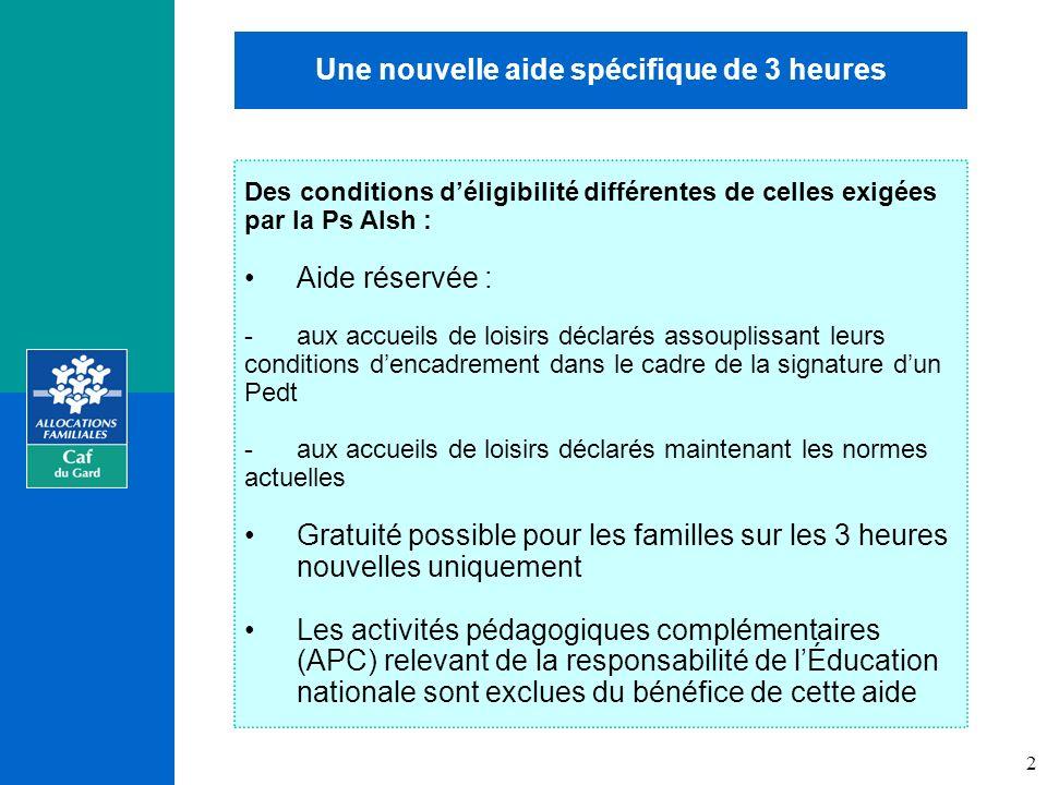 Les objectifs Une nouvelle aide spécifique de 3 heures Des conditions déligibilité différentes de celles exigées par la Ps Alsh : Aide réservée : -aux accueils de loisirs déclarés assouplissant leurs conditions dencadrement dans le cadre de la signature dun Pedt -aux accueils de loisirs déclarés maintenant les normes actuelles Gratuité possible pour les familles sur les 3 heures nouvelles uniquement Les activités pédagogiques complémentaires (APC) relevant de la responsabilité de lÉducation nationale sont exclues du bénéfice de cette aide 2
