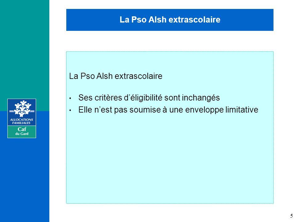 La Pso Alsh extrascolaire Ses critères déligibilité sont inchangés Elle nest pas soumise à une enveloppe limitative 5