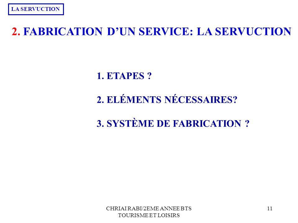 CHRIAI RABI/2EME ANNEE BTS TOURISME ET LOISIRS 11 2. FABRICATION DUN SERVICE: LA SERVUCTION 1. ETAPES ? 2. ELÉMENTS NÉCESSAIRES? 3. SYSTÈME DE FABRICA