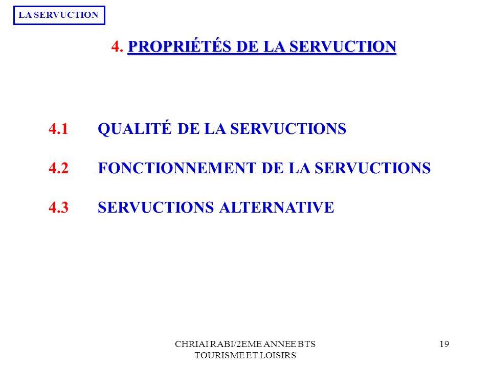 CHRIAI RABI/2EME ANNEE BTS TOURISME ET LOISIRS 19 4. P PP PROPRIÉTÉS DE LA SERVUCTION 4.1QUALITÉ DE LA SERVUCTIONS 4.2FONCTIONNEMENT DE LA SERVUCTIONS