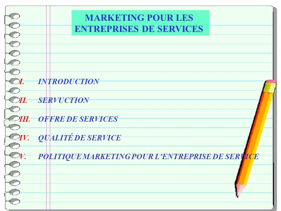 CHRIAI RABI/2EME ANNEE BTS TOURISME ET LOISIRS 2 I.INTRODUCTION II.SERVUCTION III.OFFRE DE SERVICES IV.QUALITÉ DE SERVICE V.POLITIQUE MARKETING POUR LENTREPRISE DE SERVICE MARKETING POUR LES ENTREPRISES DE SERVICES