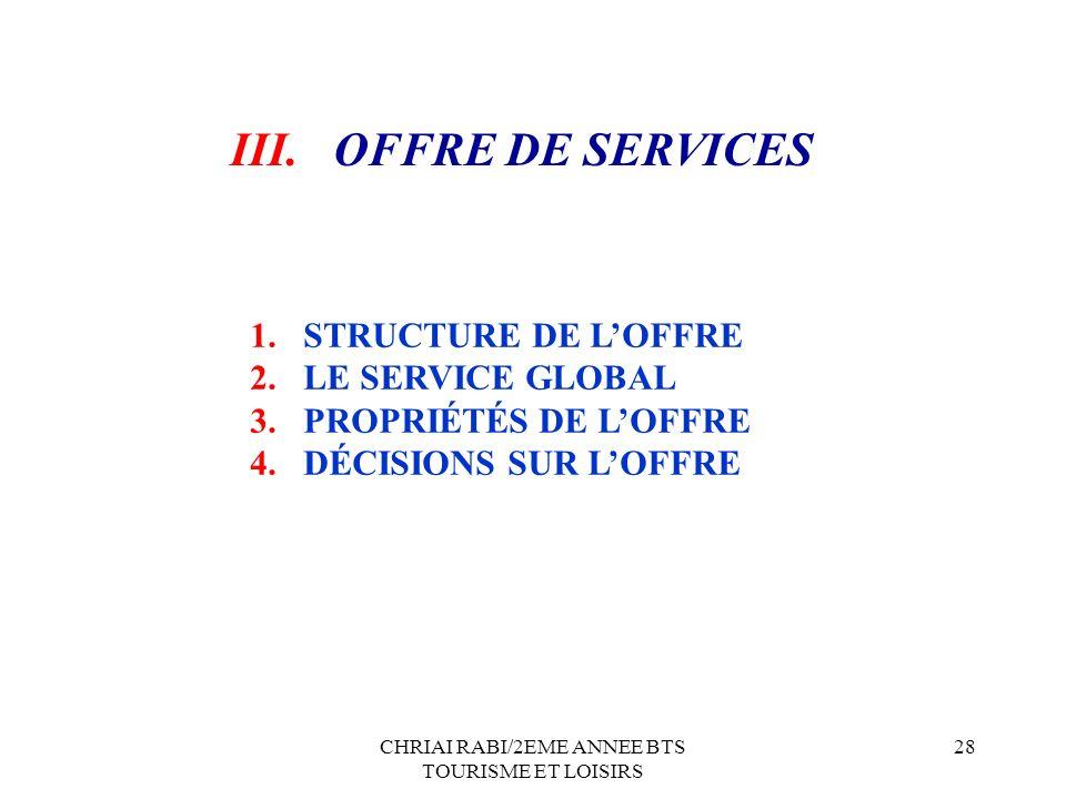 CHRIAI RABI/2EME ANNEE BTS TOURISME ET LOISIRS 28 1.STRUCTURE DE LOFFRE 2.LE SERVICE GLOBAL 3.PROPRIÉTÉS DE LOFFRE 4.DÉCISIONS SUR LOFFRE III. OFFRE D