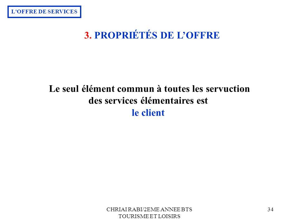CHRIAI RABI/2EME ANNEE BTS TOURISME ET LOISIRS 34 Le seul élément commun à toutes les servuction des services élémentaires est le client L OFFRE DE SERVICES 3.