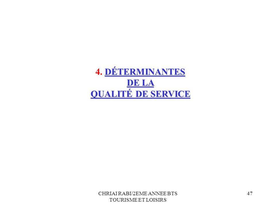 CHRIAI RABI/2EME ANNEE BTS TOURISME ET LOISIRS 47 DÉTERMINANTES 4. DÉTERMINANTES DE LA QUALITÉ DE SERVICE