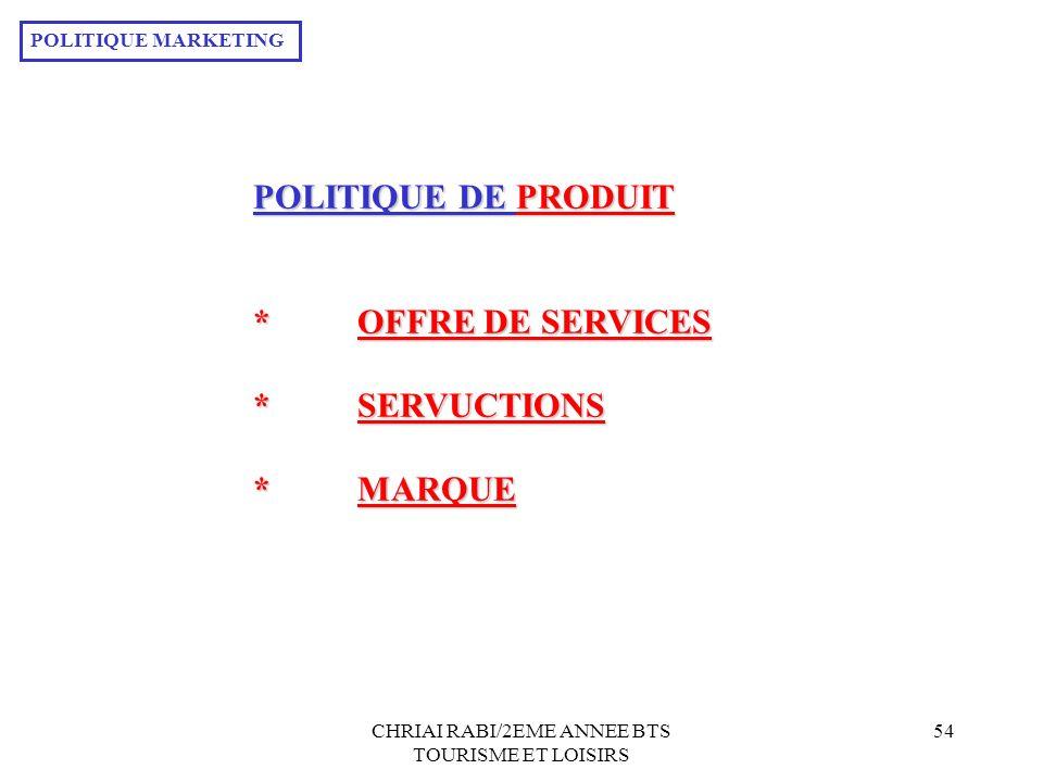 CHRIAI RABI/2EME ANNEE BTS TOURISME ET LOISIRS 54 POLITIQUE DE PRODUIT *OFFRE DE SERVICES *SERVUCTIONS *MARQUE POLITIQUE MARKETING