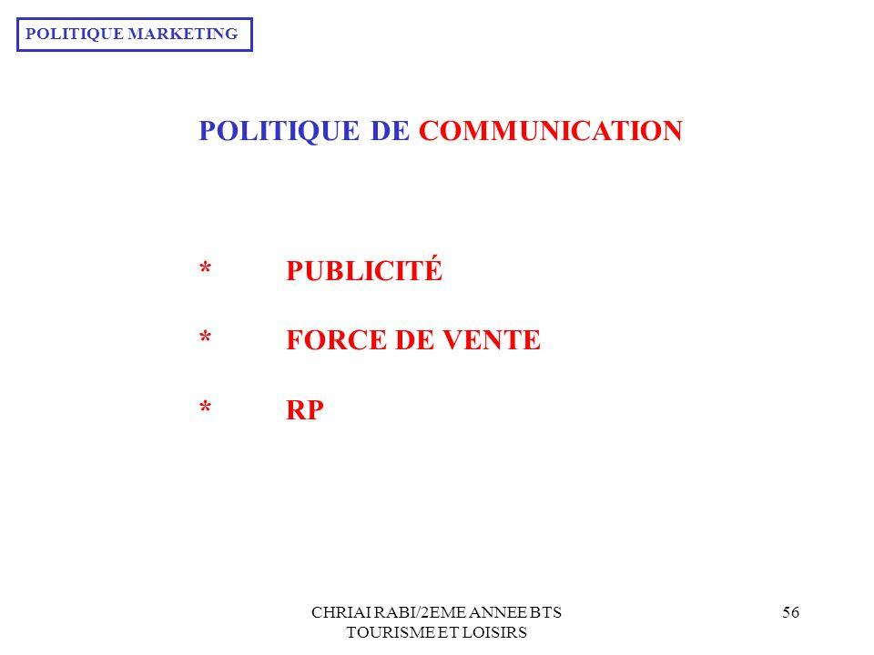 CHRIAI RABI/2EME ANNEE BTS TOURISME ET LOISIRS 56 POLITIQUE DE COMMUNICATION *PUBLICITÉ *FORCE DE VENTE *RP POLITIQUE MARKETING