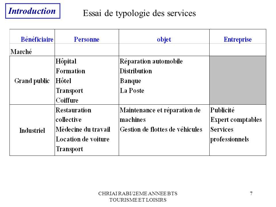 CHRIAI RABI/2EME ANNEE BTS TOURISME ET LOISIRS 7 Essai de typologie des services Introduction