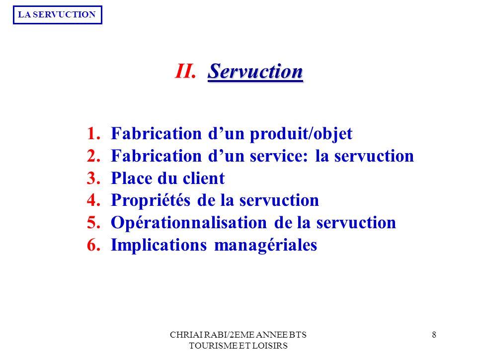 CHRIAI RABI/2EME ANNEE BTS TOURISME ET LOISIRS 8 1.Fabrication dun produit/objet 2.Fabrication dun service: la servuction 3.Place du client 4.Propriét