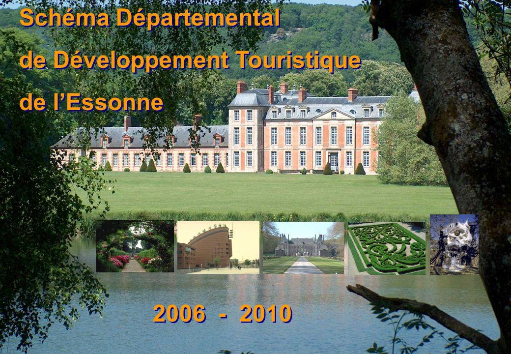 2 Schéma départemental de développement touristique de l Essonne 2006-2010 Poids économique Audit marketing Audit de lorganisation Diagnostic Le tourisme et les loisirs sur le département : premiers axes de travail Stratégie touristique de développement Plan dactions partenarial Audit de loffre